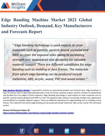 Edge Banding Machine Market Booming Worldwide by 2022: Report Focusing on Opportunities, Top Players, Revenue, Market Driving Factors, & Challenges