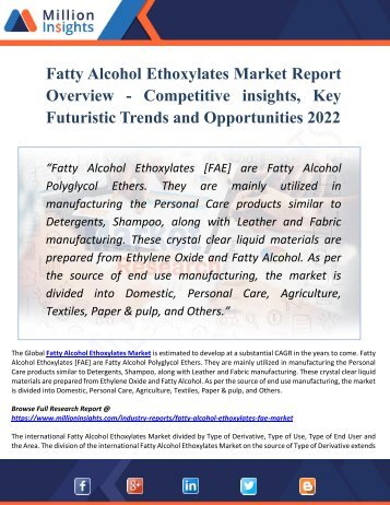 Fatty Alcohol Ethoxylates Market Key Players, Industry Overview, Supply and Consumption Demand Analysis to 2022