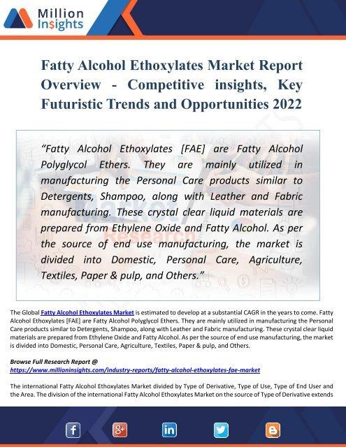 Fatty Alcohol Ethoxylates Market Key Players, Industry