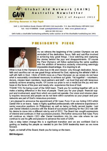 Newsletter Vol 2 August 2012 - Global Aid Network Australia