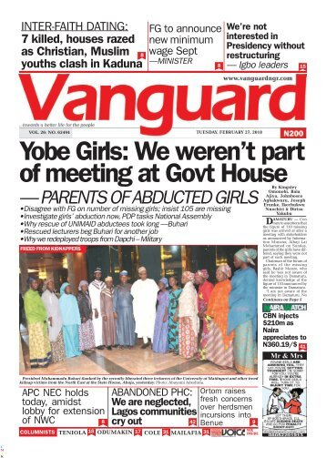 27022018 - Yobe Girls: We weren't part of meeting at Govt House — PARENTS OF ABDUCTED GIRLS