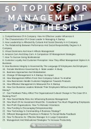 50 Topics For Management PhD Thesis