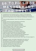 50 Topics For Management PhD Thesis - Page 2