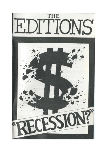 The Editions - Recession Songbook, 1983