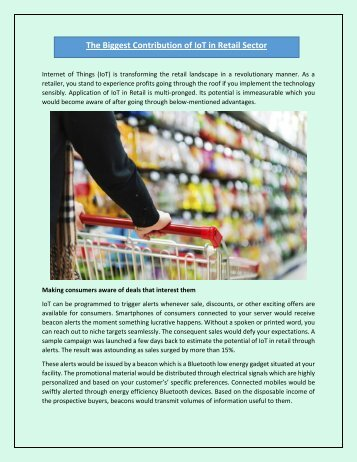 The Biggest Contribution of IoT in Retail Sector