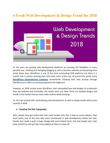 6 Fresh Web Development & Design Trend for 2018