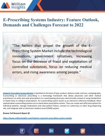 E-Prescribing Systems Market 2022: Key Trends, Drivers and Profile Analysis Forecast