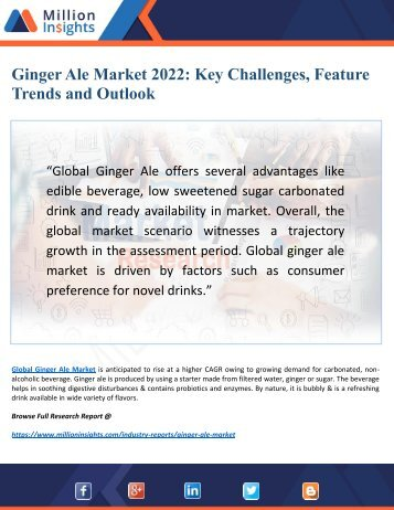 Ginger Ale Market by Top Key Challenges, Restraints and Opportunities Forecast to 2022