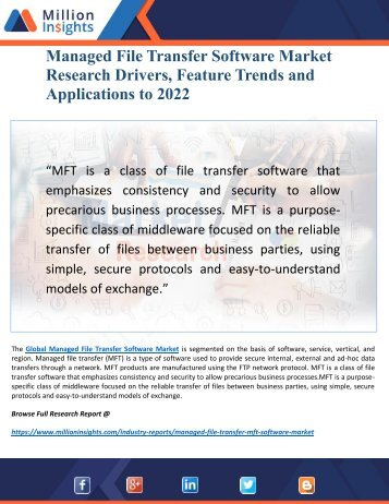 Managed File Transfer Software Market Research Report 2022- Driving Factors, Key Players and Applications Analysis
