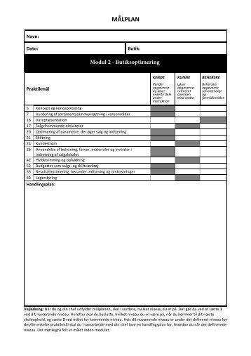 Målplan modul 2 - Butiksoptimering-2 aflever