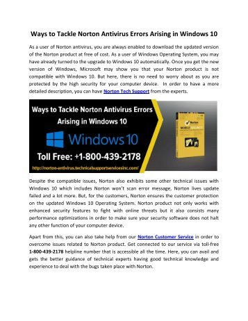 Ways to Tackle Norton Antivirus Errors Arising in Windows 10