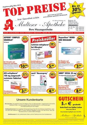 Angebote der Malteser Apotheke in Nürnberg für März 2018