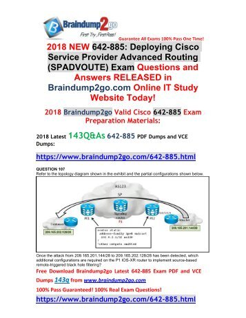 2018 Braindump2go New Cisco 642-885 PDF and VCE Dumps Free Share(107-117)