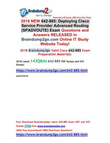 2018 Braindump2go New Cisco 642-885 VCE and 642-885 PDF Dumps Free Share(96-106)