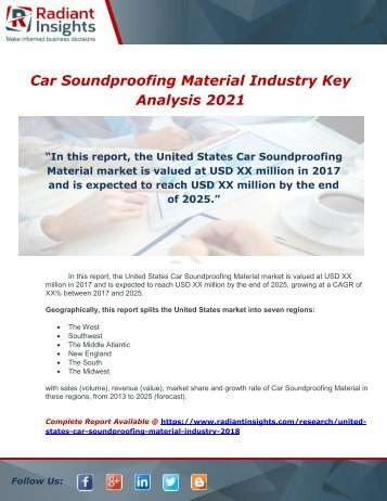 United States Car Soundproofing Material Industry 2018 Market Research Report