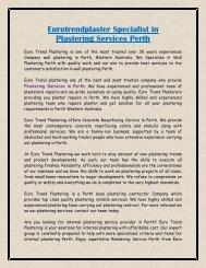 Eurotrendplaster Specialist in Plastering Services Perth