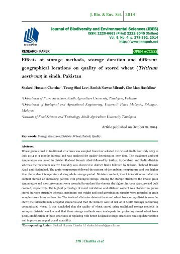 Effects of storage methods, storage duration and different geographical locations on quality of stored wheat (Triticum aestivum) in sindh, Pakistan