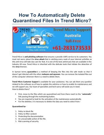How To Automatically Delete Quarantined Files In Trend Micro?