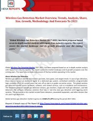 Wireless Gas Detection Market Overview, Trends, Analysis, Share, Size, Growth, Methodology And Forecasts To 2021