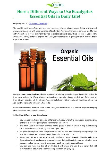 Here's Different Ways to Use Eucalyptus Essential Oils in