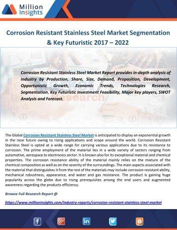 Corrosion Resistant Stainless Steel Market Segmentation & Key Futuristic 2017 – 2022