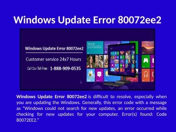 Fix Windows Update Error 80072ee2 Call 1-888-909-0535