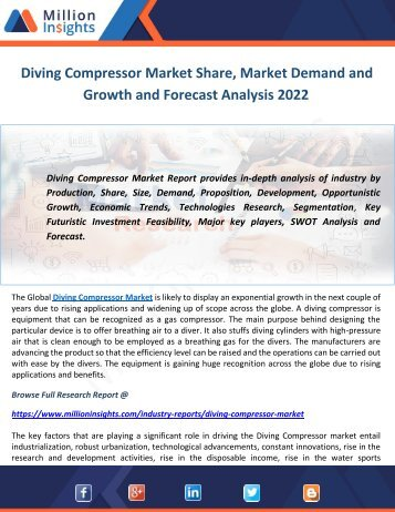 Diving Compressor Market Share, Market Demand and Growth and Forecast Analysis 2022