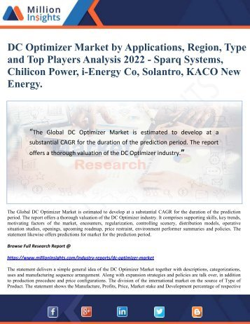 DC Optimizer Market by Applications, Region, Type and Top Players Analysis 2022 - Sparq Systems, Chilicon Power, i-Energy Co, Solantro, KACO New Energy