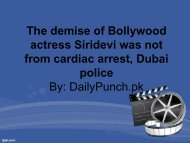 The demise of Bollywood actress Siridevi was not from cardiac arrest, Dubai police