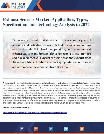 Exhaust Sensors Market- Application, Types, Specification and Technology Analysis to 2022