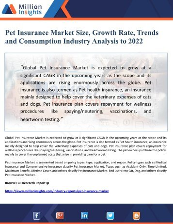 Pet Insurance Market Size, Growth Rate, Trends  and Consumption Industry Analysis to 2022