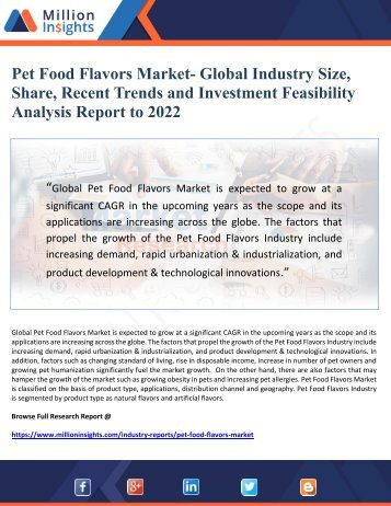 Pet Food Flavors Market- Global Industry Size, Share, Recent Trends and Investment Feasibility Analysis Report to 2022
