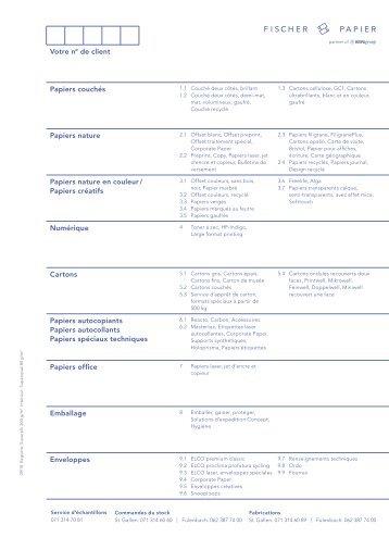 Fischer Papier AG - Liste de prix