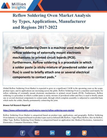Reflow Soldering Oven Market Analysis by Types, Applications, Manufacturer and Regions 2017-2022