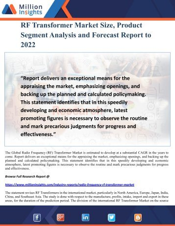 RF Transformer Market Size, Product Segment Analysis and Forecast Report to 2022