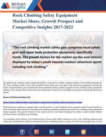 Rock Climbing Safety Equipment Market Share, Growth Prospect and Competitive Insights 2017-2022