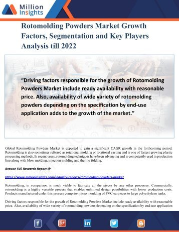 Rotomolding Powders Market Growth Factors, Segmentation and Key Players Analysis till 2022