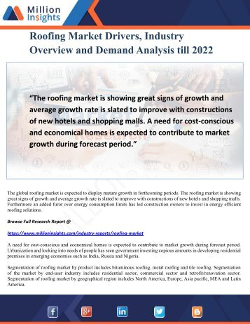 Roofing Market Drivers, Industry Overview and Demand Analysis till 2022