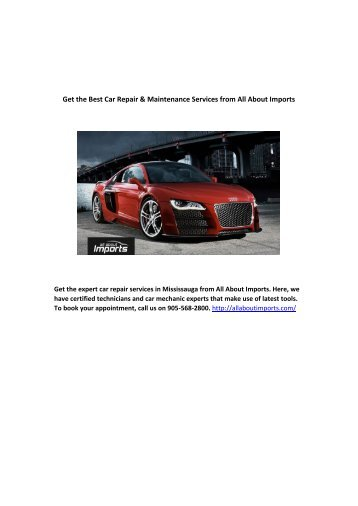 Get the Best Car Repair & Maintenance Services from All About Imports