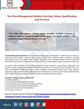Test Data Management Market Overview, Status, Specification and Forecast