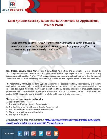 Land Systems Security Radar Market Overview By Applications, Price & Profit