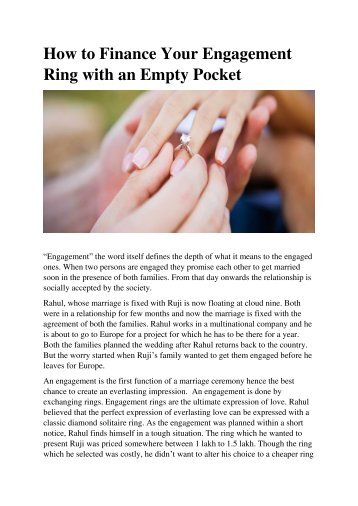 How to Finance Your Engagement Ring with an Empty Pocket
