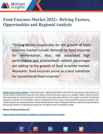 Food Enzymes Market Driving Factors, Growth and Applications