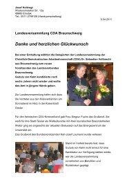 Landesversammlung CDA Braunschweig Danke und herzlichen ...