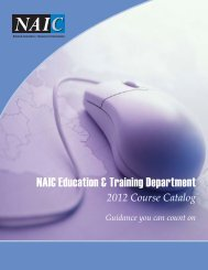 NAIC Education & Training Department - National Association of ...