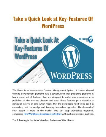 Take a Quick Look at Key-Features Of WordPress