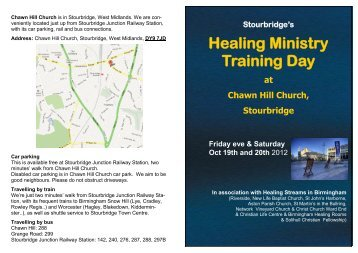 Stourbridge's Healing Ministry Training Day at ... - Riverside Church