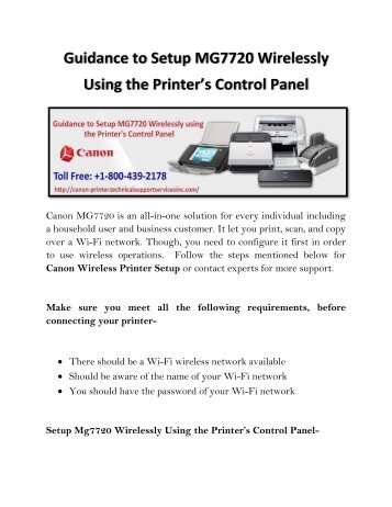 Guidance to Setup MG7720 Wirelessly Using the Printer