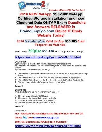 2018 Braindump2go New NetApp NS0-180 PDF and NS0-18 VCE Dumps Free Share(34-44)