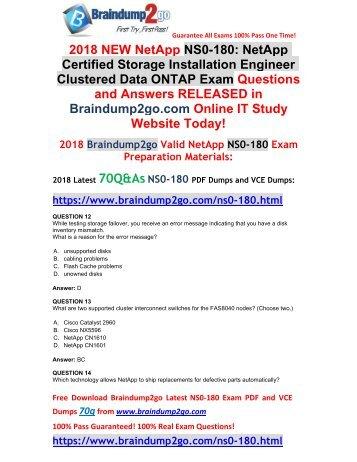 2018 Braindump2go New NetApp NS0-180 PDF Dumps Free Share(12-22)